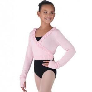 Chaqueta - Bloch CZ6549 Chaqueta de ballet para niña, cruzada con volante de punto de algodón y viscosa.