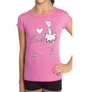 Camiseta Ballet Niña Intermezzo - 6374 Camlove Camiseta de ballet para niñas en rosa negro y blanco.