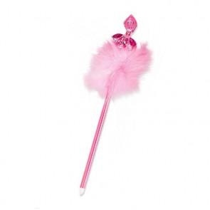 Bolígrafo con bailarina transparente, decorada con brillantes y plumas, en color rosa, lila y blanco. Un precioso detalle de regalo.