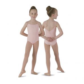 Maillot Ballet Mirella Niña - M268C de tirantes negro y rosa con cristales brillantes