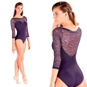 Maillot de ballet con encaje para mujer, en color negro, blanco y violeta de manga larga.