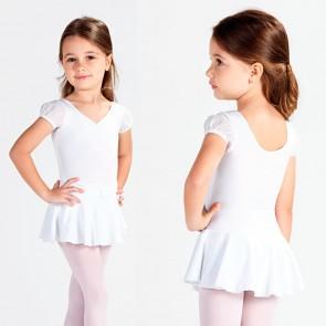 Maillot Ballet Faldita Niña SoDança - L555, Maillot de ballet con faldita para niña en color rosa, blanco y rojo, con manga de farol y cinturón con brillantes. Con una falda de lycra de doble capa, las mangas de farol de tul y el cinturón (sólo por la par