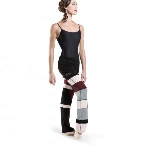 Pantalón calentador de ballet Granate, gris, negro y rosa.