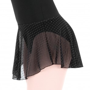 Falda negra de ballet con lunares de terciopelo, para niña y mujer.