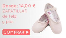 Compra ahora tu zapatilla de piel o tela de ballet